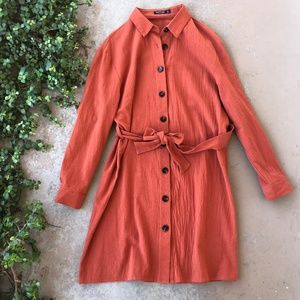 Nasty Gal Collection Orange Button Up Shirt Dress